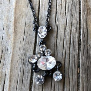 Givenchy Black Metal Crystal Necklace BNWOT!